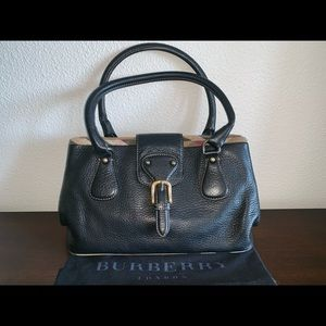 Authentic Burberry leather nova check trim satchel